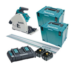 Makita 18Vx2 Cordless Brushless 165mm 6-1/2 Plunge Cut Saw Track Kit - DSP600PT2JT
