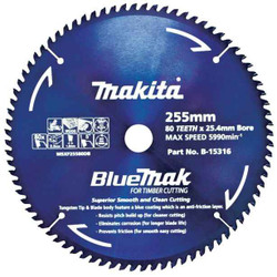 Makita 255mm x 80T BluMak Saw Blade 25.4mm Bore # B-15316