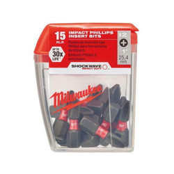 Milwaukee SHOCKWAVE Insert Bit Phillips #2 Pack 15 - 48325003