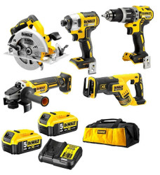DeWalt 18V 5.0Ah XR Li-Ion Cordless Brushless 5pce Combo Kit - DCK560P2-XE