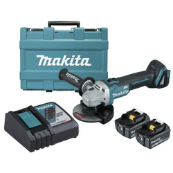 Makita 18V Cordless 125mm Electric Brake Brushless Angle Grinder Kit BONUS - DGA506RTE