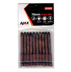 Ajax 70mm Magnetic Phillips No.2 Power Bits - 70PH2A10PK