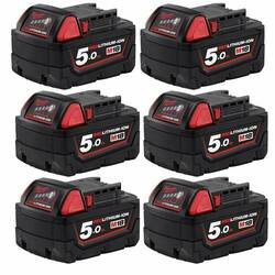 Milwaukee 18v Extended Capacity Red Lithium 5.0Ah Battery 6 Pack - M18B56