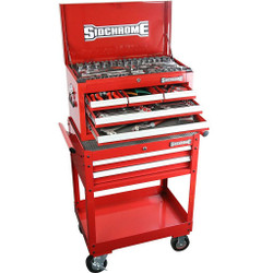 Sidchrome 147pce Metric A/F Tool Kit in 6 Drawer Chest Cart - SCMT11705