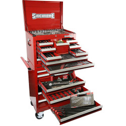 Sidchrome 334 Piece Metric A/F Tool Kit 10 Drawer Chest 7 Drawer Roller Cabinet - SCMT11405
