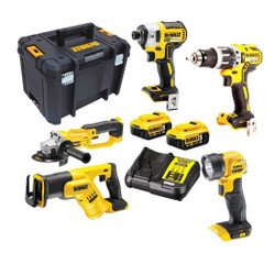 Dewalt 18V 5.0Ah Li-Ion Cordless Brushless 5pce Combo Kit # DCZ594P2-XE