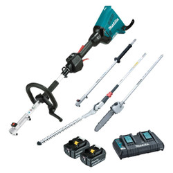 Makita Cordless 18Vx2 Brushless Multi-Function Powerhead, Pole Saw and Hedge Trimmer Kit - DUX60PSHPT2