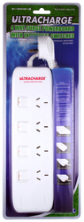 Ultracharge 4 Way Power Board Surge Protection - UR100/4SW