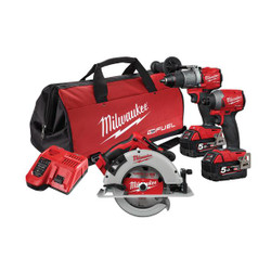 Milwaukee M18 FUEL 18 v Cordless 3pce Power Pack - M18FPP3J2-502B