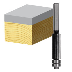 Carbitool 2 Flute Flush Trimming Bit with Double Ball Bearing Guide Carbide Tipped 22mm Router Bit # TX8016BB-1/2