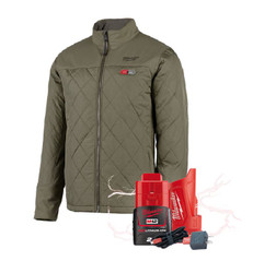 Milwaukee M12 Heated AXIS 12v Jacket Olive Green + BONUS Battery # M12HJMOGX-0