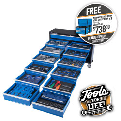 """Kincrome 494 Piece 13 Drawer Extra-Wide 1/4, 3/8, 1/2"""" Drive Evolution Tool Trolley - P1730"""
