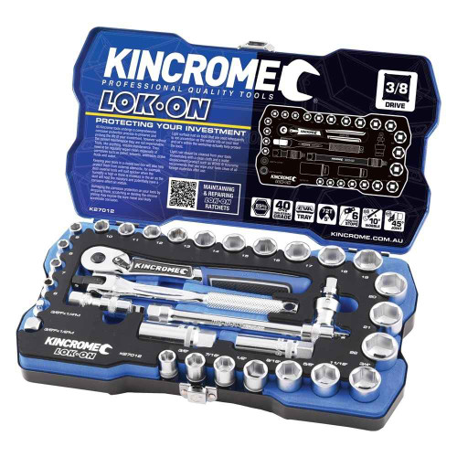 Kincrome LOK-ON 30pce 3/8 Square Drive Socket Set #K27012