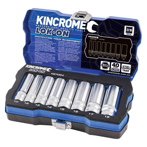 Kincrome LOK-ON 8pce Metric 3/8 Square Drive Socket Set #K27054
