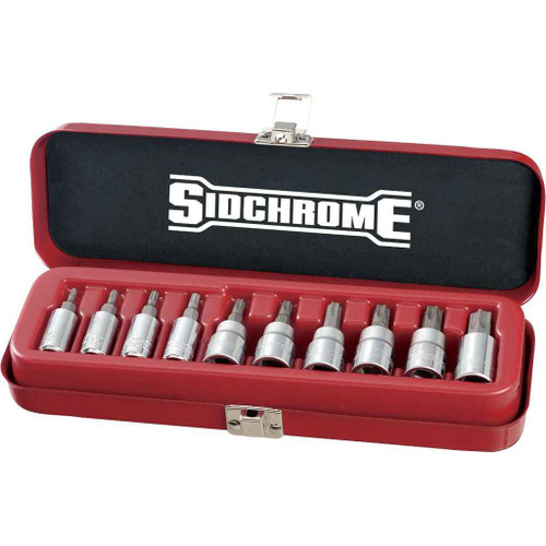Sidchrome 10pce 1/4 and 3/8″ Drive Socket Set – Tru-Torque TORX - SCMT19107
