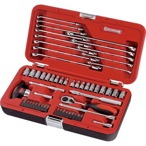 Sidchrome 57pce 1/4 Drive Metric and A/F Socket and Spanner Set - SCMT10810