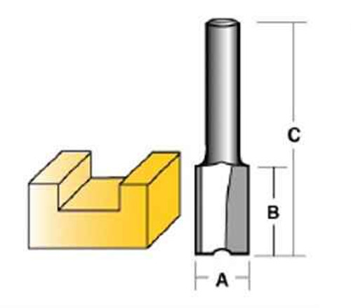 Carbitool 6.35mm 1/4 Shank Carbide Tipped Straight Bits - Two Flute A 9.5mm #TX212