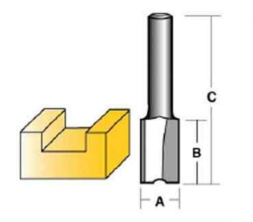 Carbitool 6.35mm 1/4 Shank Carbide Tipped Straight Bits - Two FluteA 15.9mm #TX220