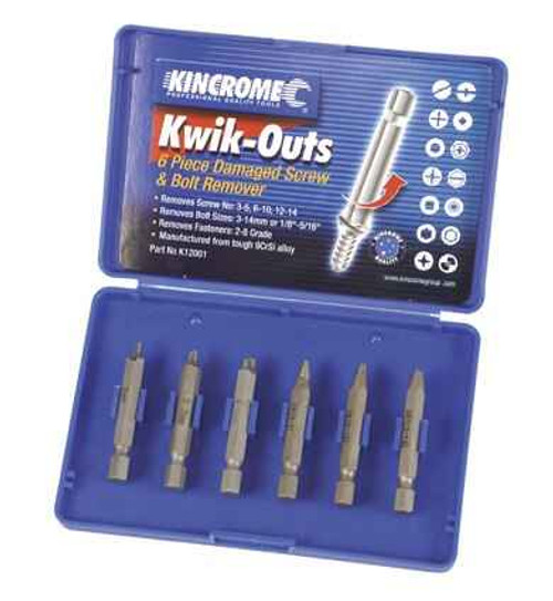 Kincrome 6pce Kwik-Outs Damaged Screw and Bolt Remover #K12001