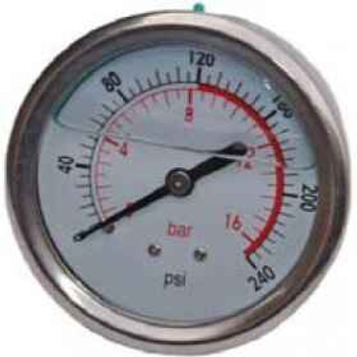 Peerless 230PSI Oil Filled Pressure Gauge Rear Entry #00052