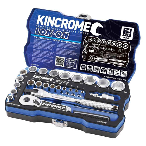 Kincrome LOK-ON 26pce 1/4 and 3/8 Square Drive Socket Set #K27030