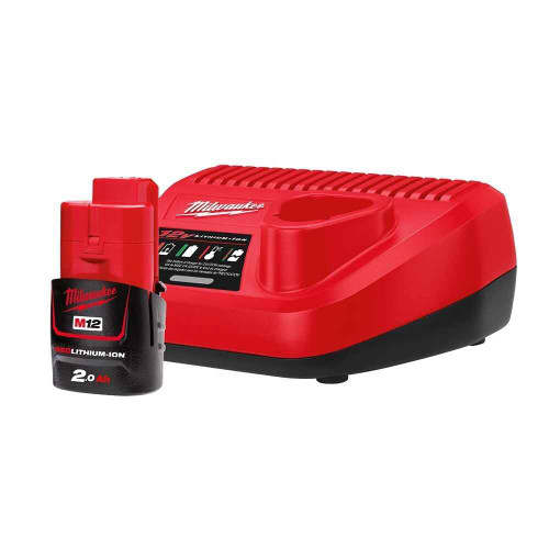Milwaukee M12 Lithium Ion 12v2.0Ah Starter Pack - Battery Charger #M12SP-201B
