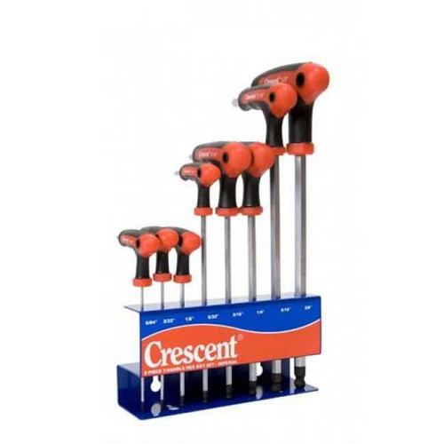 Crescent 8pce Ball Point T-Handle AF Hex Key Set # CHKT8I