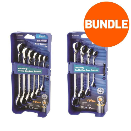 Kincrome 10pce Double Ring Gear Spanner Set - Metric Imperial Bundle - K030005B