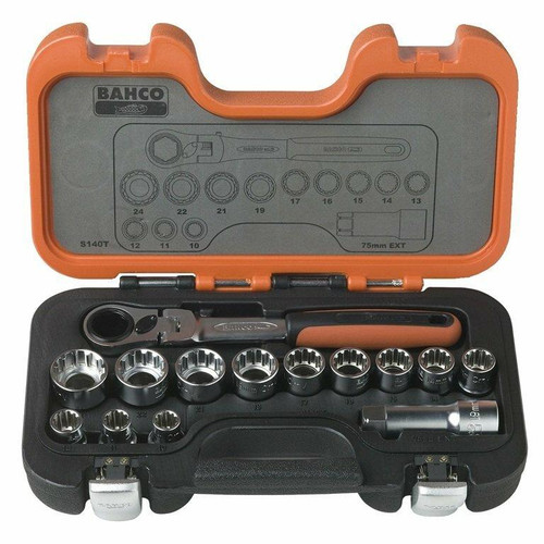 Bahco 14pce Go Through Socket Set - S140T
