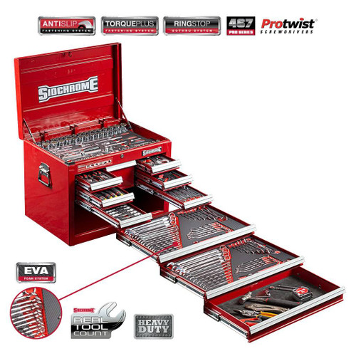 Sidchrome 309pce Metric A/F Tool Kit in 10 Drawer Chest - SCMT10128