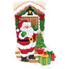 Plaid / Bucilla Gem Dots - Santa At The Door Christmas Stocking