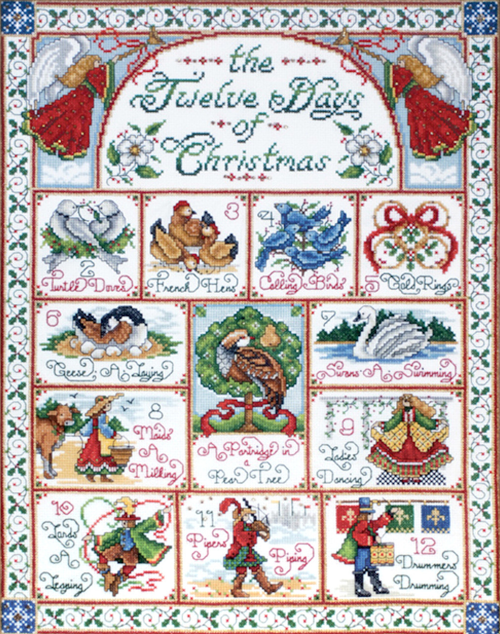 "Design Works CHRISTMAS ANGEL by Joan Elliot Counted Cross Stitch Kit  12/"" x 14/"""