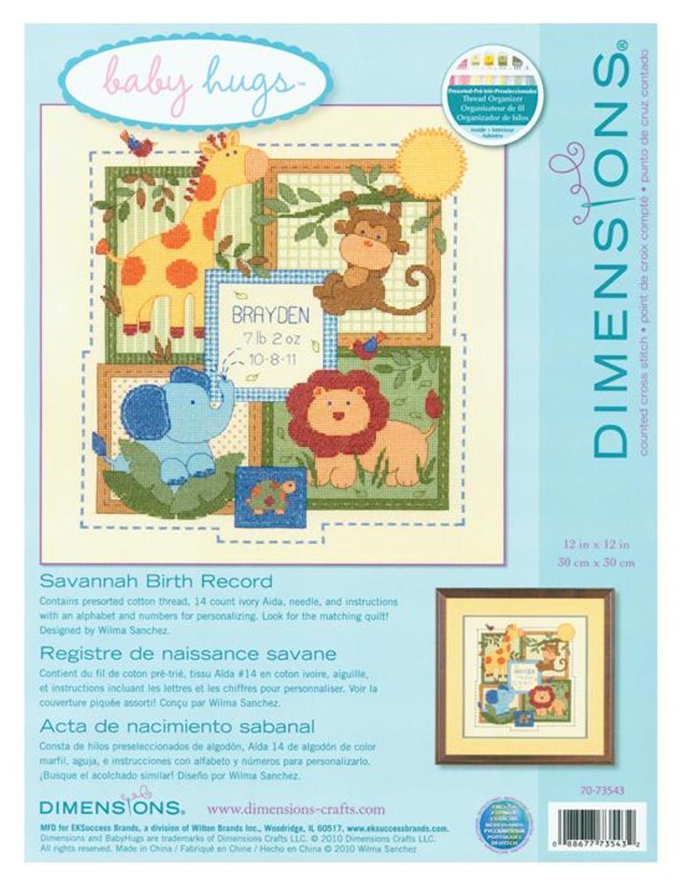 Dimensions Baby Hugs - Savannah Birth Record