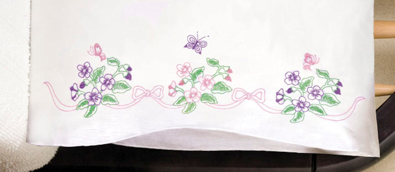 Design Works - Pansies Pillowcase Pair
