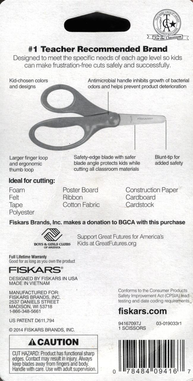 "Fiskars 5"" Blunt Tip Saftey Edge Kids Scissors"