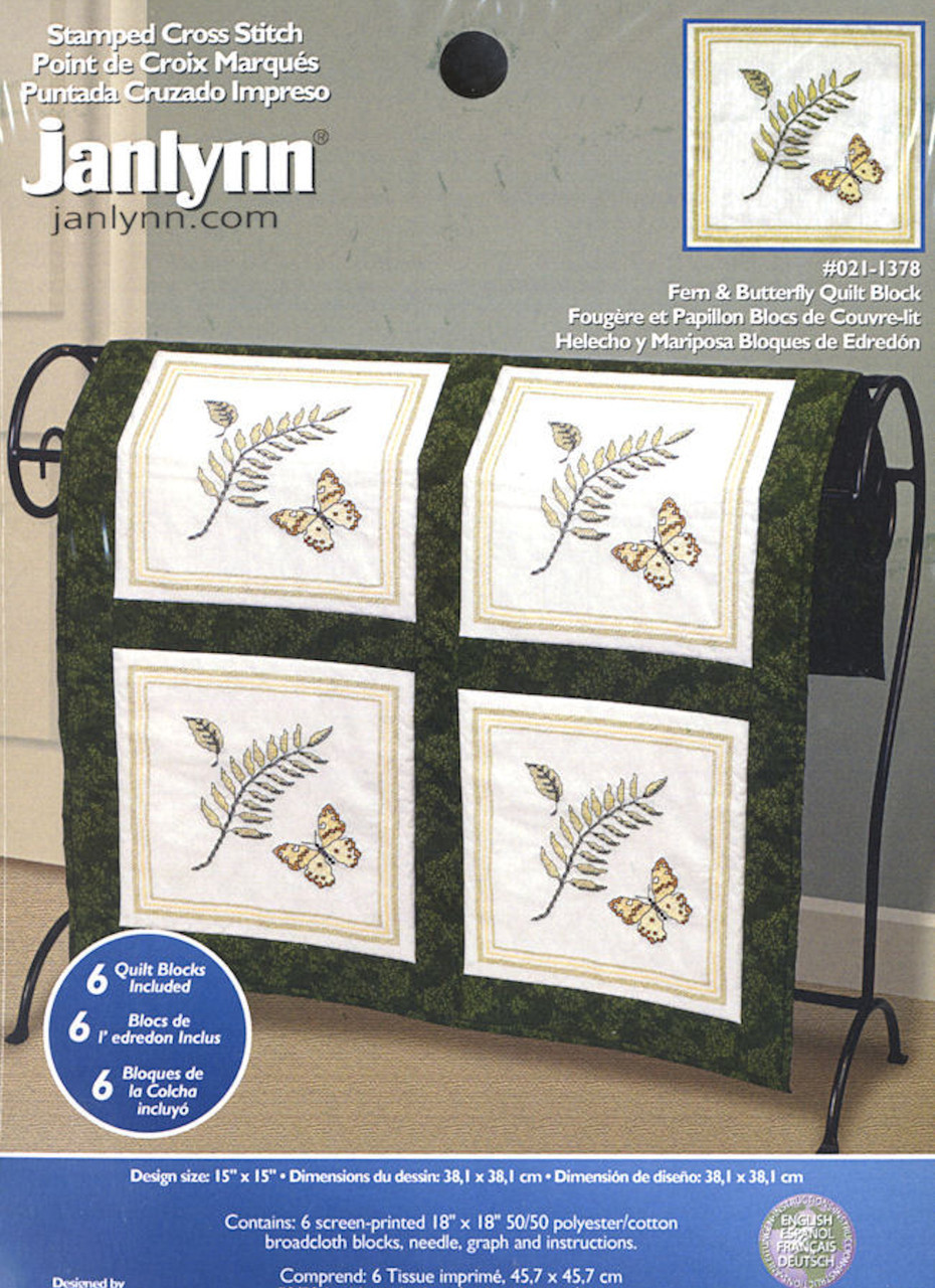 Edredon English.Janlynn Fern And Butterfly Quilt Blocks