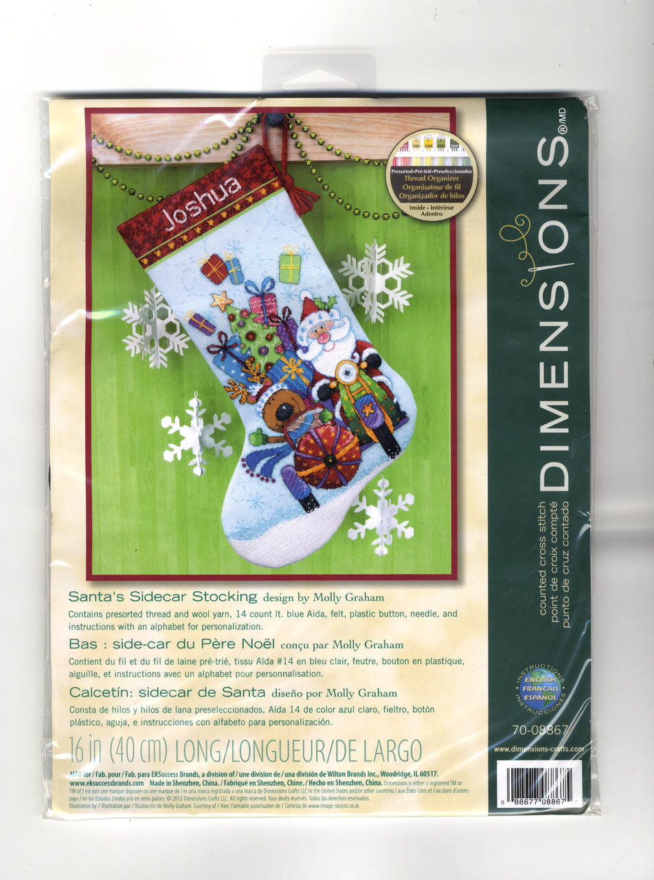 Dimensions -  Santa's Sidecar Stocking