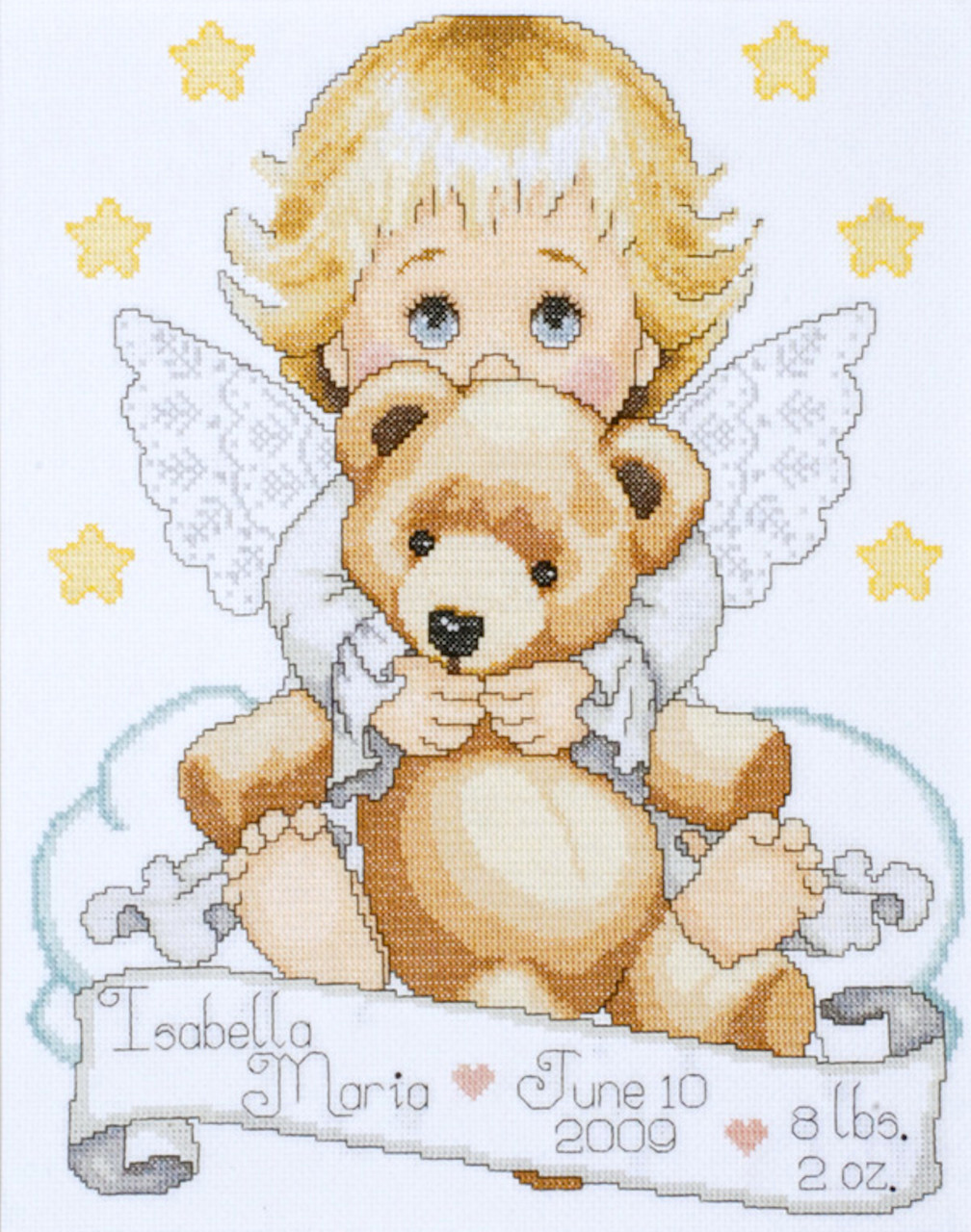 Design Works - Angel with Bear Birth Record