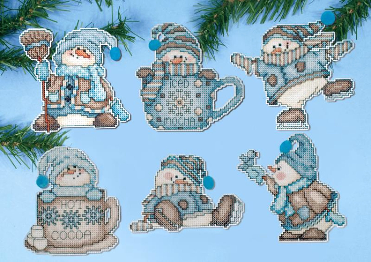 Design Works - Cocoa Snowmen Ornament Set (6)