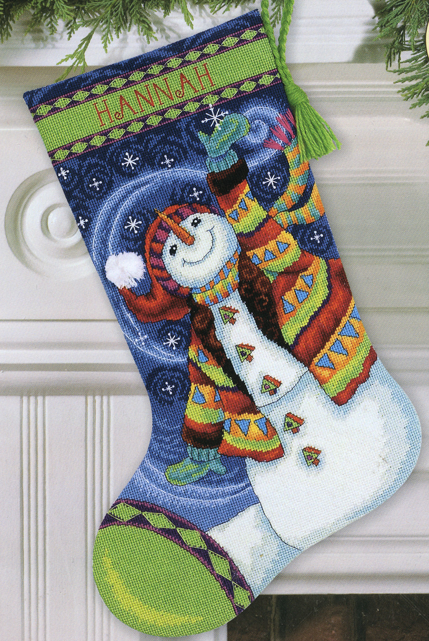 Dimensions - Happy Snowman Stocking
