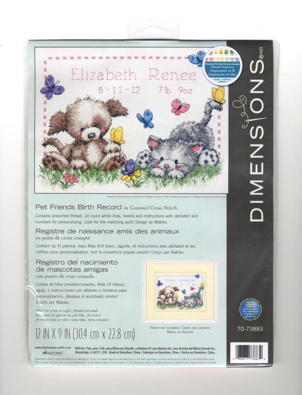 Dimensions - Pet Friends Birth Record