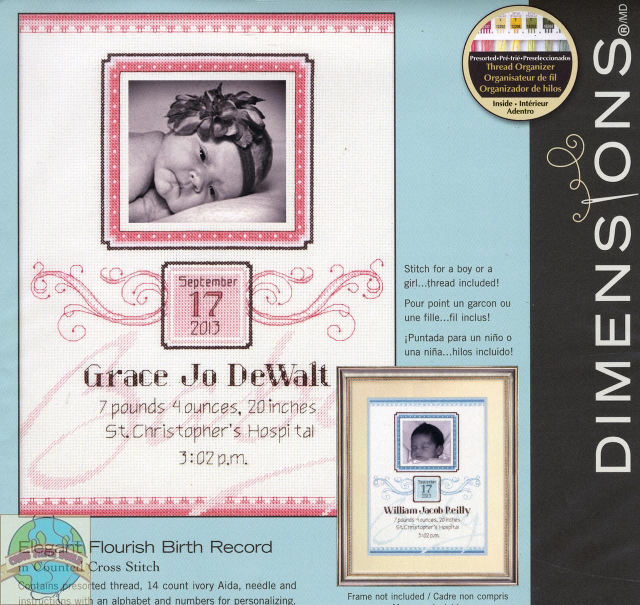 Dimensions - Elegant Flourish Birth Record