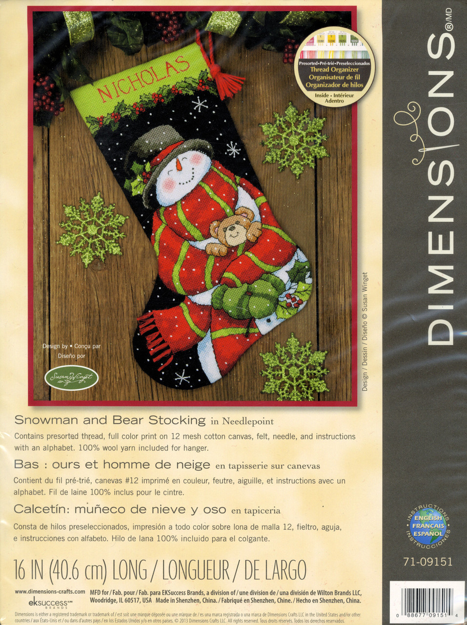 Dimensions - Snowman and Bear Stocking