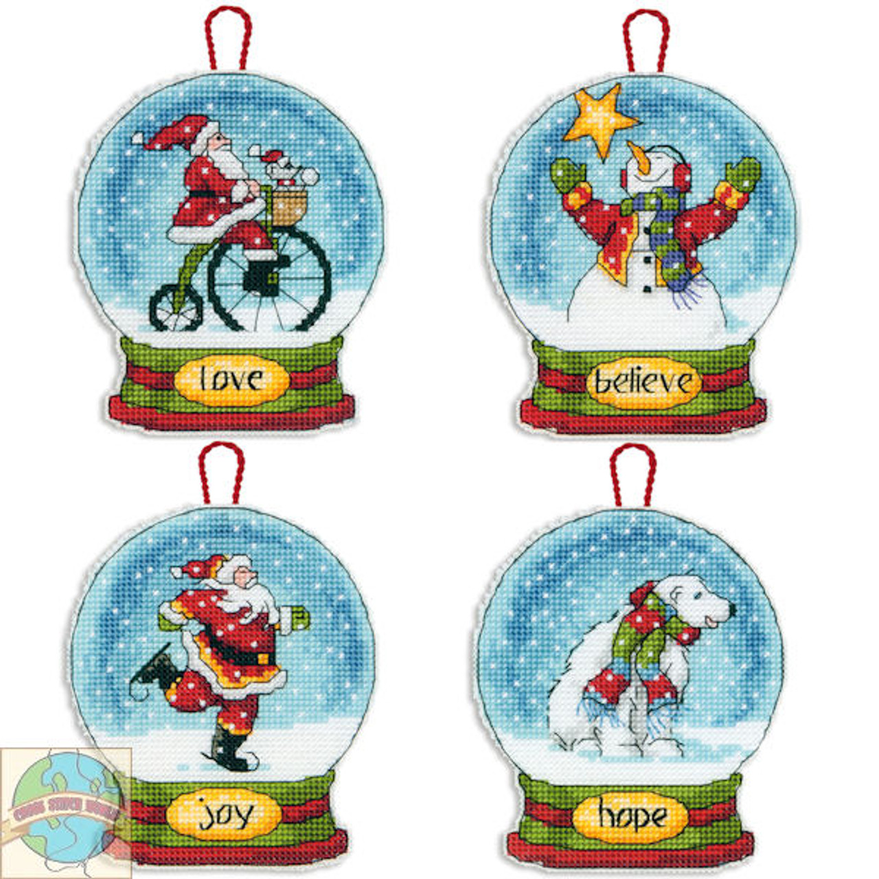 Dimensions Set of 4 Snow Globe Christmas Ornaments