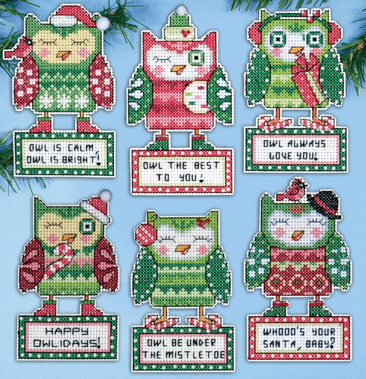 Design Works - Happy Owlidays Set of 6 Ornaments
