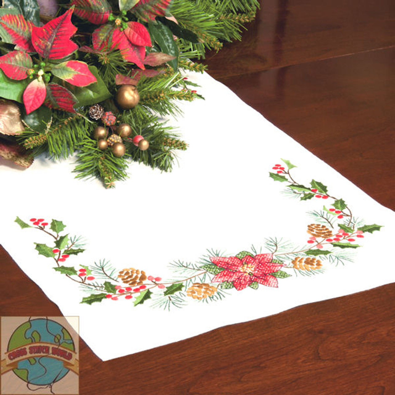 Dimensions Christmas Greens Table Runner Crossstitchworld