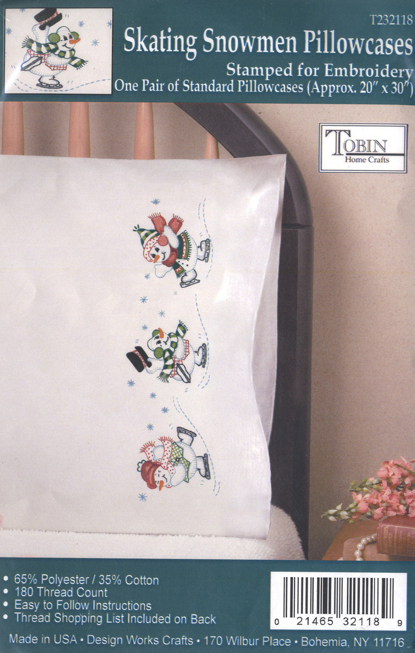Design Works - Skating Snowmen Pillowcases (2)