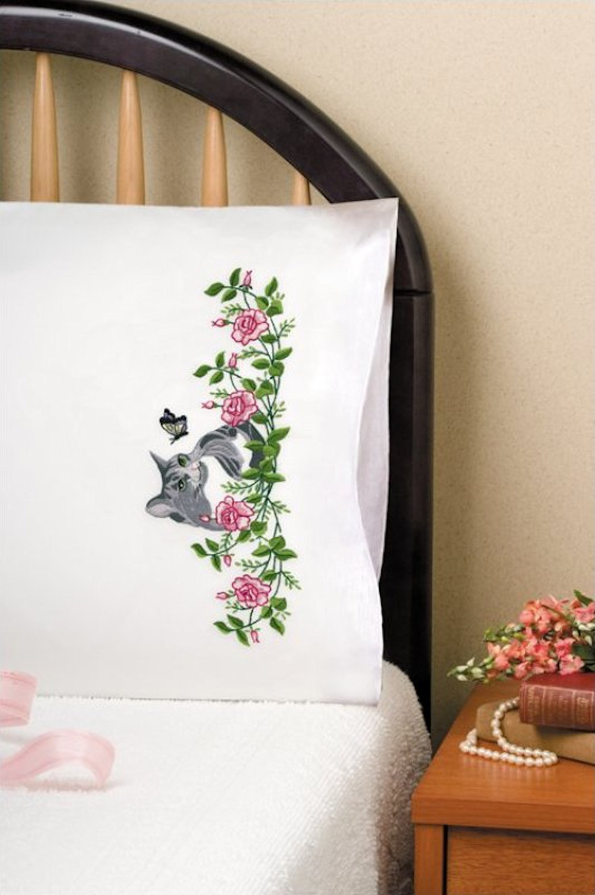 Design Works - Grey Cat Pillowcases (2)