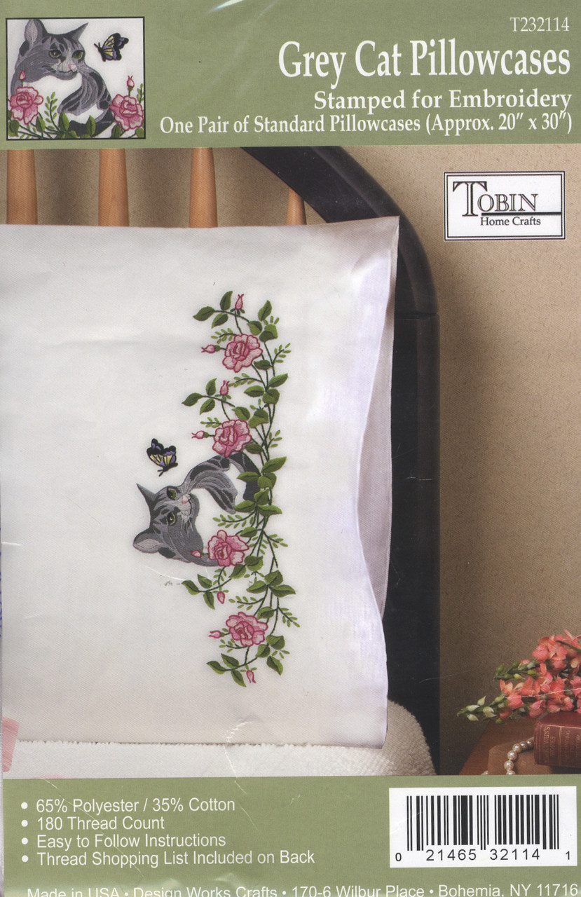 Design Works - Grey Cat Pillowcases (2)