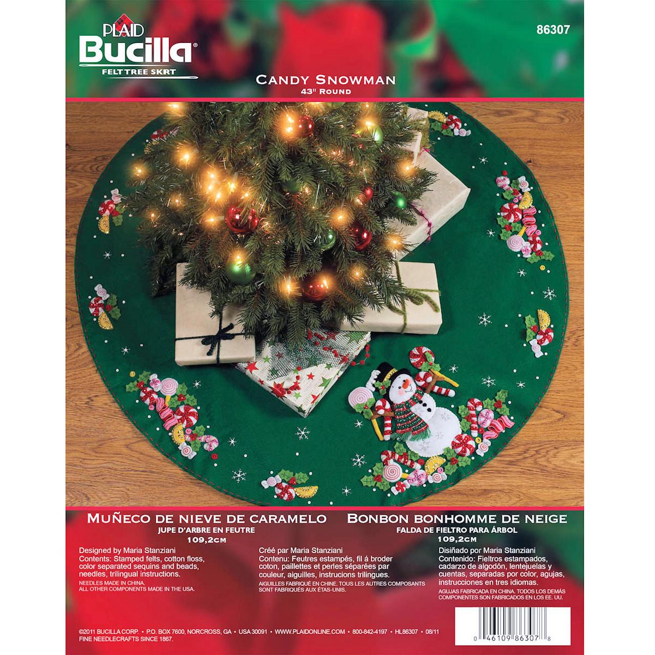 Plaid / Bucilla - Candy Snowman Tree Skirt